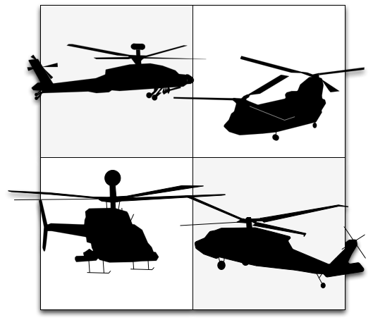 AH-64D, CH-47F, OH-58D, UH-60M helicopters